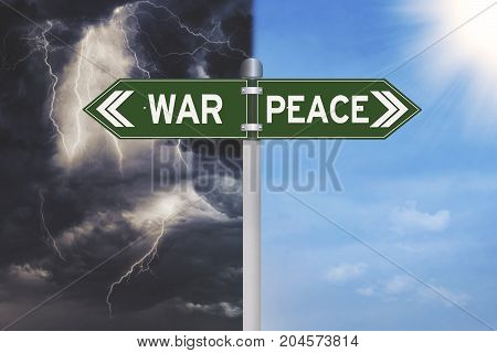 War or peace decision on a green signpost with a thunderstorm and blue sky on the background
