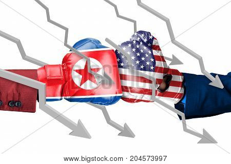 Two hands wearing boxing gloves with North Korea and USA flag. arrows move down isolated on white background