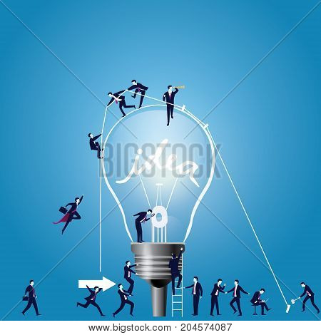 Vector illustration of light bulb as idea symbol. Business creative idea solution concept
