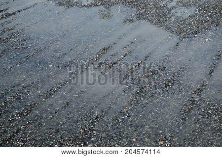 flood after rain. drain water on the gravel after hard rain.