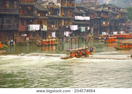 Fenghuang River Tourist Boat Traditional Houses