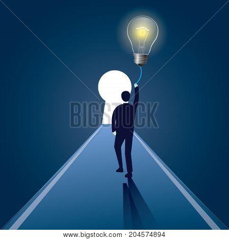 Vector illustration of businessman and lightbulb as creative idea symbol. Solution problem concept.