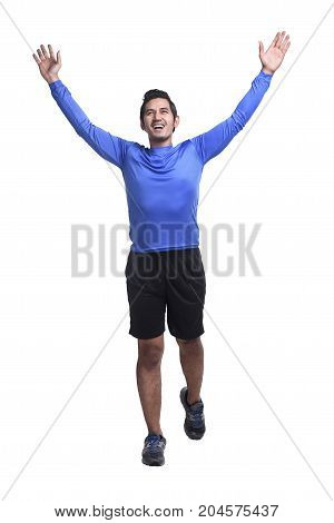 Young Asian Man With Sports Clothes Running
