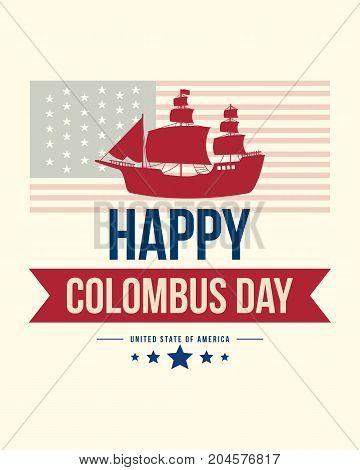 Happy Columbus Day banner design vector illustration