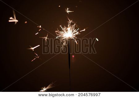 Sparkler firework light glowing in the dark, for celebration and birthday