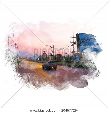 Car on road in twilight sky with billboard. Watercolor painting (retouch).