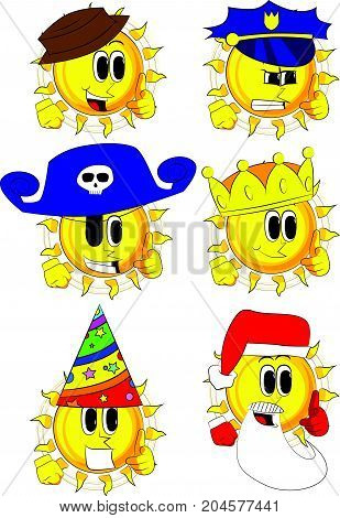Cartoon sun with pointing hand at the viewer. Collection with costume. Expressions vector set.