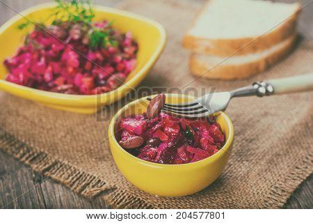 Salad from various vegetables, cold appetizer, vinaigrette