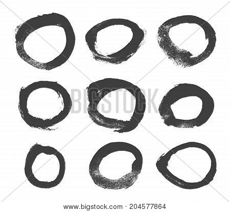 Vector brushes. Set of black circle ink on white background. Elements for design. Abstraction.