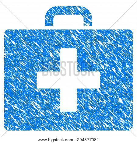 Grunge First Aid Bag icon with grunge design and unclean texture. Unclean vector blue first aid bag pictogram for rubber seal stamp imitations and watermarks. Draft sign symbol.