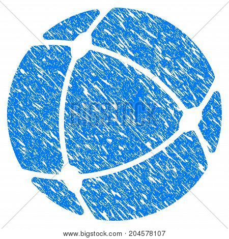 Grunge Internet Sphere icon with grunge design and dirty texture. Unclean vector blue internet sphere pictogram for rubber seal stamp imitations and watermarks. Draft sign symbol.