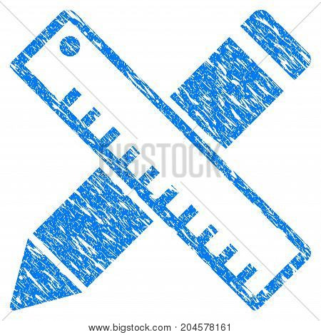 Grunge Pen And Ruler Design Tools icon with grunge design and unclean texture. Unclean vector blue pen and ruler design tools pictogram for rubber seal stamp imitations and watermarks.