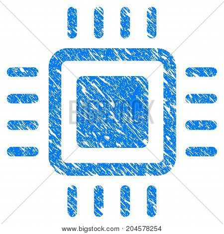 Grunge Processor icon with grunge design and dirty texture. Unclean vector blue processor pictogram for rubber seal stamp imitations and watermarks. Draft sticker symbol.