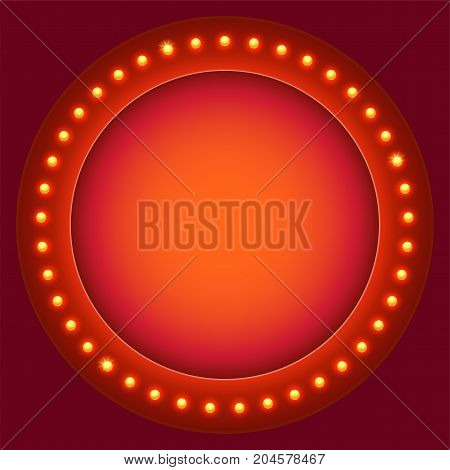 Retro circular background with light bulbs. Light bulbs on retro banner with space for text. Glowing lights on circle billboard with place for your text. 3D illustration, template for poster, banne.