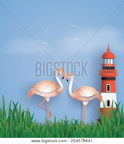 love birds flamingos stand on the beach with grass and lighthouse.the illustration do to same paper art and craft style.