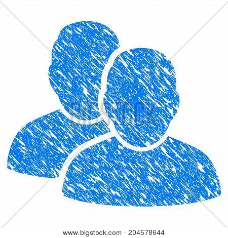 Grunge Users icon with grunge design and dust texture. Unclean vector blue users pictogram for rubber seal stamp imitations and watermarks. Draft emblem symbol.