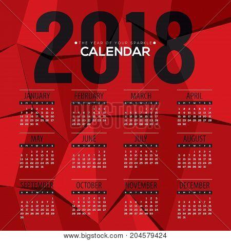 2018 Modern Abstract Red Polygon Printable Calendar Starts Sunday Vector Illustration. EPS 10