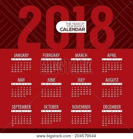 2018 Modern Red Graphic Printable Calendar Starts Sunday Vector Illustration. EPS 10