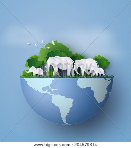 family of animalThe elephants are look for food in the jungle .illustrations made the same paper art and craft style.