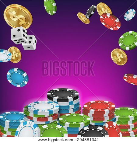 Casino Banner Vector. Online Poker Gambling Casino Banner Sign. Bright Chips, Dollar Coins. Jackpot Casino Billboard, Signage