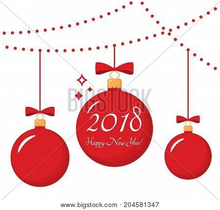 Red Christmas ball with happy new year 2018 congratulation, vector eps10 illustration