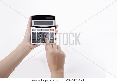 calculator in woman hand isolated on white clipping path include