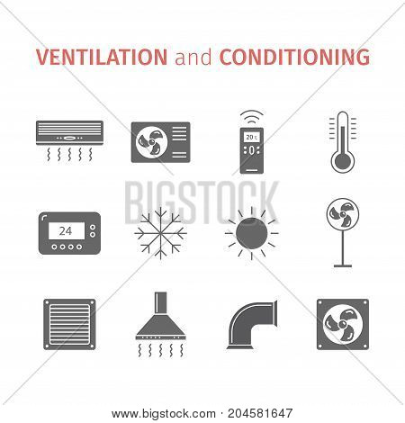 Ventilation and conditioning. Climate control icon set. Vector signs for web graphics