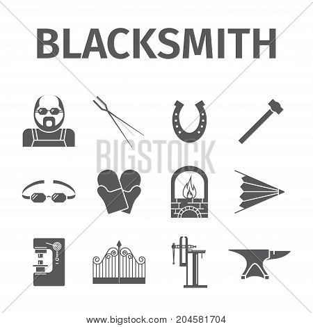 Blacksmith icons set. Vector signs for web graphics