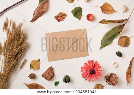 Autumn Composition With Envelope
