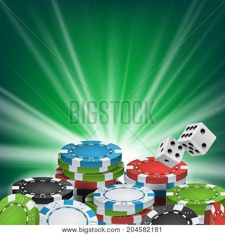 Poker Poster Vector. Online Poker Gambling Casino Billboard Sign. Jackpot Advertising