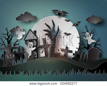 Halloween party with ghost and graveyard in fullmoon.The illustrations do the same paper art and craft style