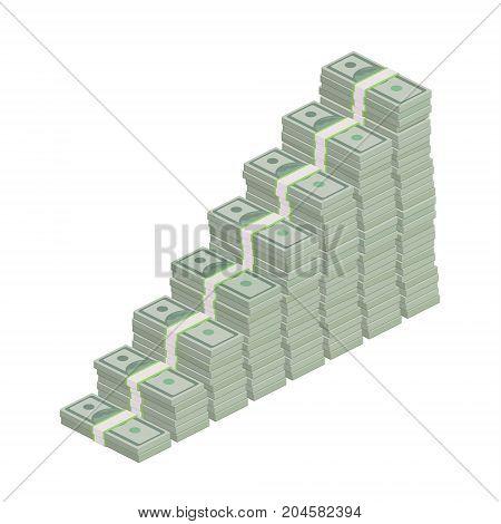 Stacks of one hundred dollar bills in stairs. Flat design, vector illustration