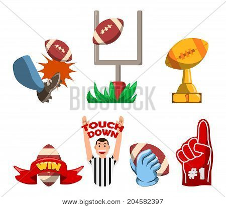 Vector fancy illustration collection set of American Football win