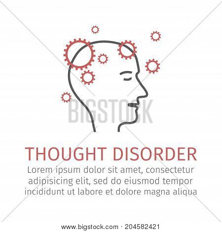 Thought disorder. Vector icon for web graphic.