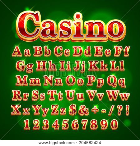 Casino golden english alphabet font on the green background. Vector illustration