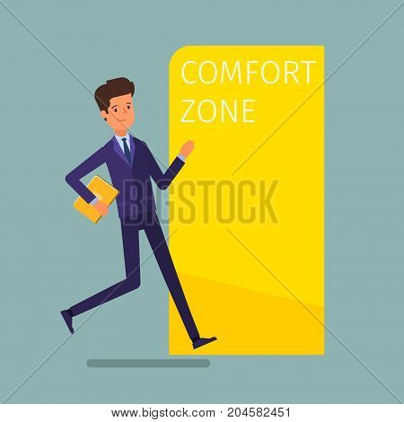 Concept of comfort zone. Businessman runs into the comfort zone to success. Flat design, vector illustration.