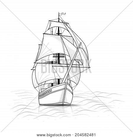 vintage ship with sails and sea on a white background