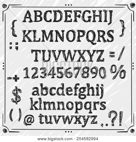 Sketch Cyrillic font, Board with a set of sketch symbols, Sketch font alphabet and numbers, Vector illustration.