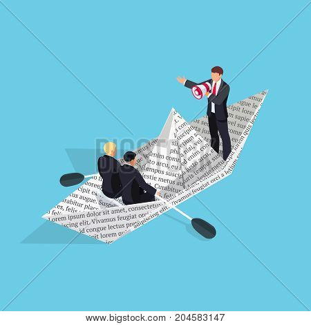 Isometric business concept of teamwork. 3d paper boat from the newspaper with businessmen. Leadership gives the team the workers using a megaphone. Vector illustration.