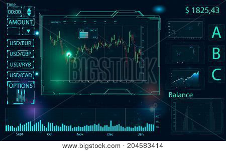 Touch interface. Abstract virtual graphic touch user interface. HUD. Blue and white elements. Web elements