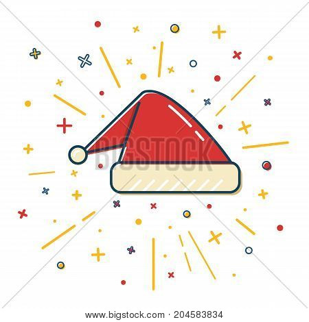 Colored Santa hat icon in thin line style. Traditional symbol isolated on white background.