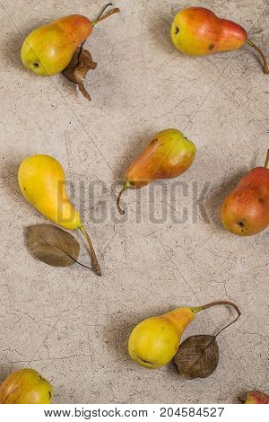Ripe juicy pears on a gray background. A new crop. The concept of healthy eating. Top view.