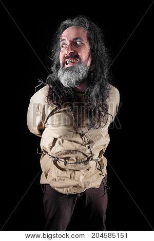 Insane Man With Straitjacket