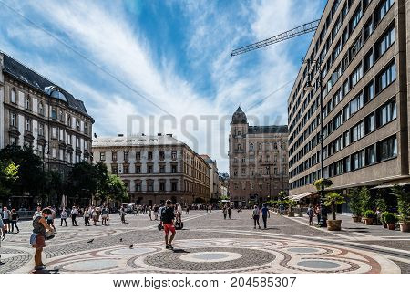 Budapest, Hungary - August 12, 2017:  Square of St Stephen a sunny day of summer. Located near the Cathedral is an important tourist attraction in Budapest.