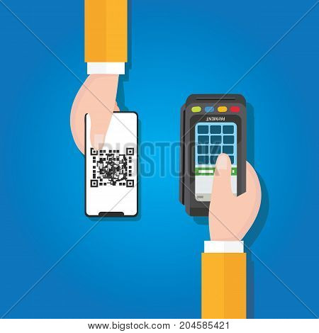pay by QR code in mobile phone payment method electronic transaction hand holding vector