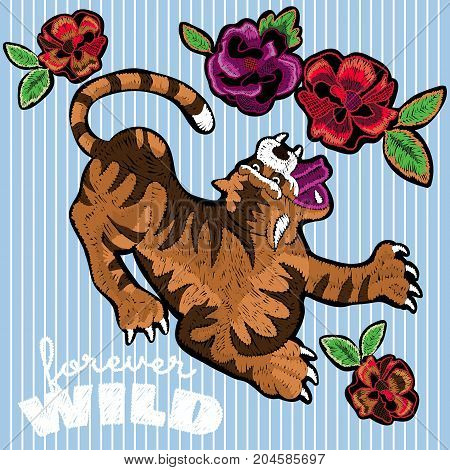 Embroidery floral patches with tiger and roses. Vector embroidered animal and flowers elements for fashion design.