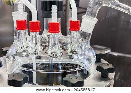 chemical glass reactor. Abstract background, detail of laboratory equipment lid