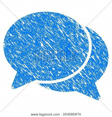 Grunge Chat icon with grunge design and dust texture. Unclean vector blue chat pictogram for rubber seal stamp imitations and watermarks. Draft sign symbol.