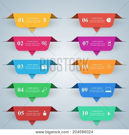 Business Infographics origami style Vector illustration. List of 10 items.