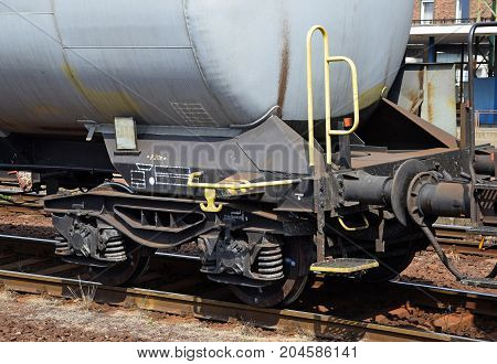 Part of a fuel tanker railway carriage